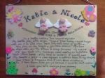 Babies Castle 2 character 3d Angel  Memorial Wooden Sign Handmade Unique Item Personalised Plaque Twins Siblings Crematorium Garden Grave